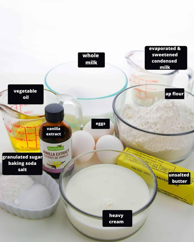 Ingredients to make tres leche cake.