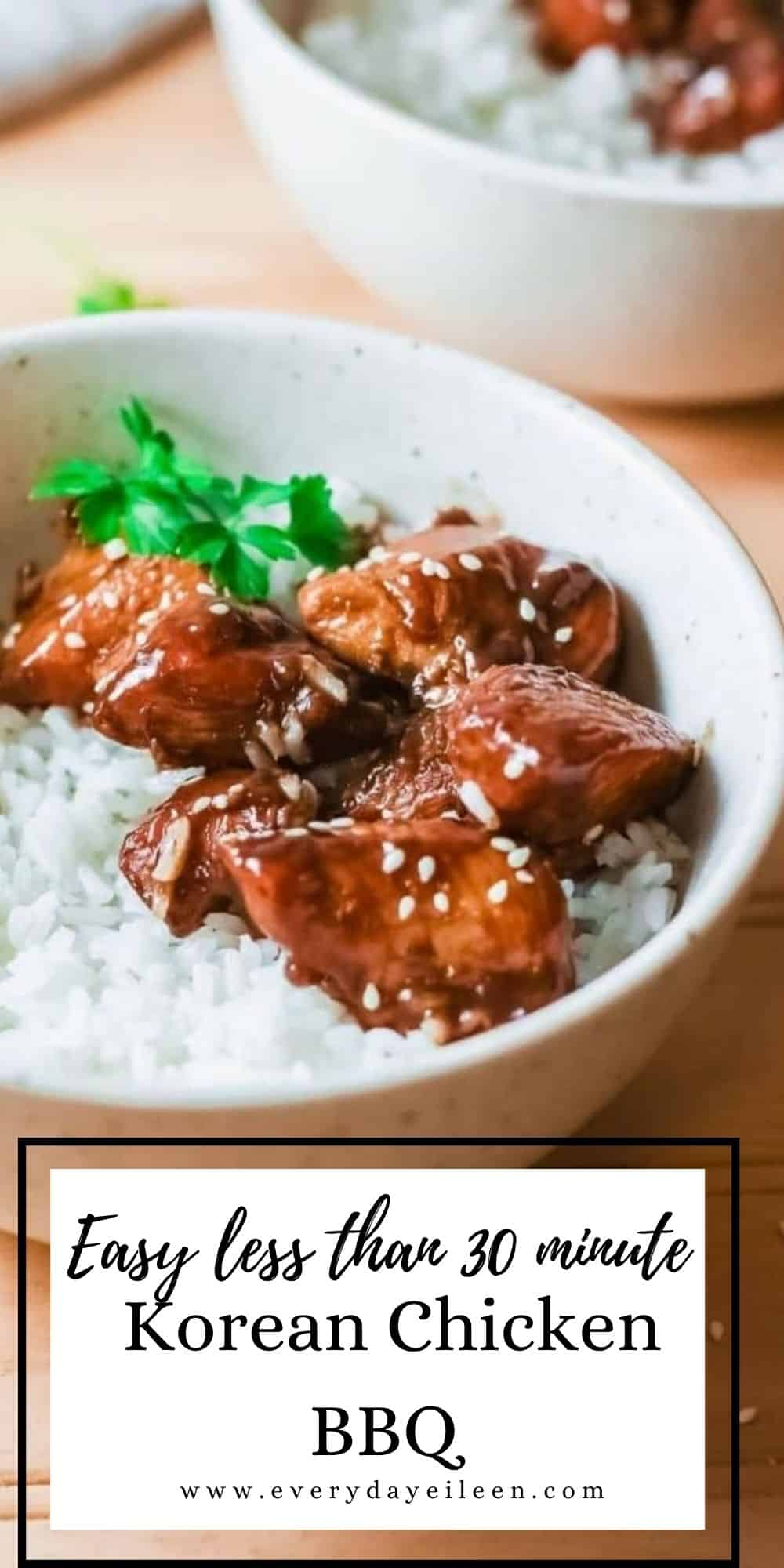 Korean BBQ Chicken is a quick and easy recipe for boneless chicken breasts made in a skillet in 20 minutes. The zesty sauce is made in just a few minutes with simple pantry staples for the most flavor-packed meal. It's an easy dinner recipe that is quick and delicious. A great weeknight family dinner.  via @everydayeileen