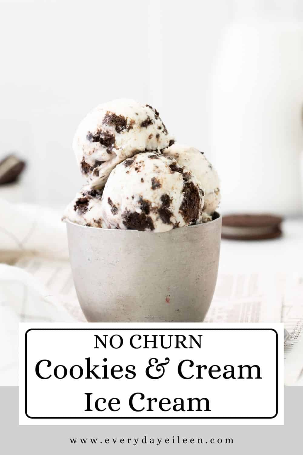 No Churn Cookies and Cream Ice Cream, just 4 ingredients and 5 minutes of preparation for this delicious homemade ice cream. The ice cream is creamy with chunks of crushed Oreo chocolate sandwich cookies in it. A fabulous frozen dessert for everyone to enjoy. A great ice cream treat for the dessert. Use the ice cream to make milkshakes, ice cream sandwiches, ice cream cakes too. Make some for summer parties, BBQ dessert, graduation parties, Fathers day, Memorial Day and 4th of July dessert table.  via @everydayeileen