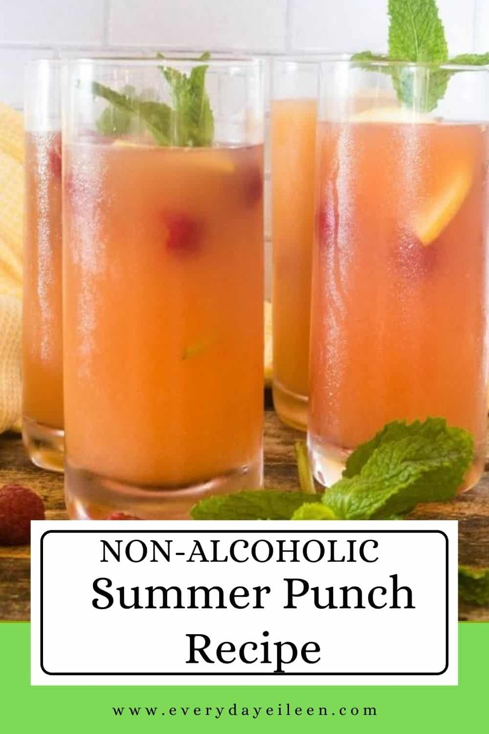 Enjoy a refreshing summer punch made with pineapple juice, orange juice, and fruit flavored seltzer. A wonderful mocktail, a non-alcoholic fruit drink for everyone to enjoy. Make a big batch for your family dinner and BBQ. Bring along for pot-lucks for a fun fruity beverage without alcohol.  Perfect for any summer day by the pool or at the beach. Make a big batch for baby showers, wedding showers, brunch, Mother's Day, Easter, Memorial day, and Fathers Day. Add to any summer celebration.  via @everydayeileen