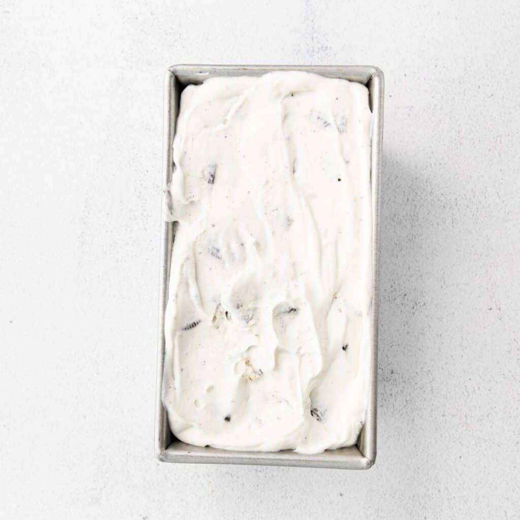 Cookies and Cream Ice cream in a silver ice cream mold