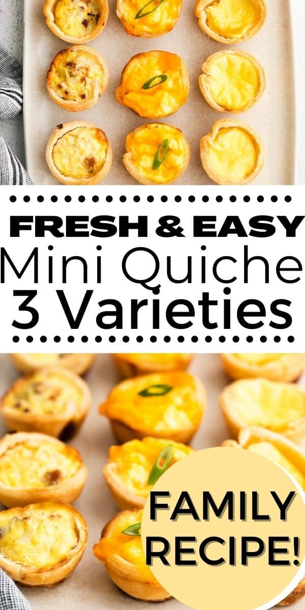 Enjoy this Easy Mini Quiche Recipe with 3 variations that give options with meat and vegetarian. They are easy to prepare with multiple ingredient suggestions. They can also be crustless for a gluten-free option. A family friendly recipe for breakfast and brunch. Great for brunch, baby and bridal showers, Mother's Day, Father's Day, Holiday brunch appetizer recipe. They can be made ahead for any family breakfast or celebration.  via @everydayeileen