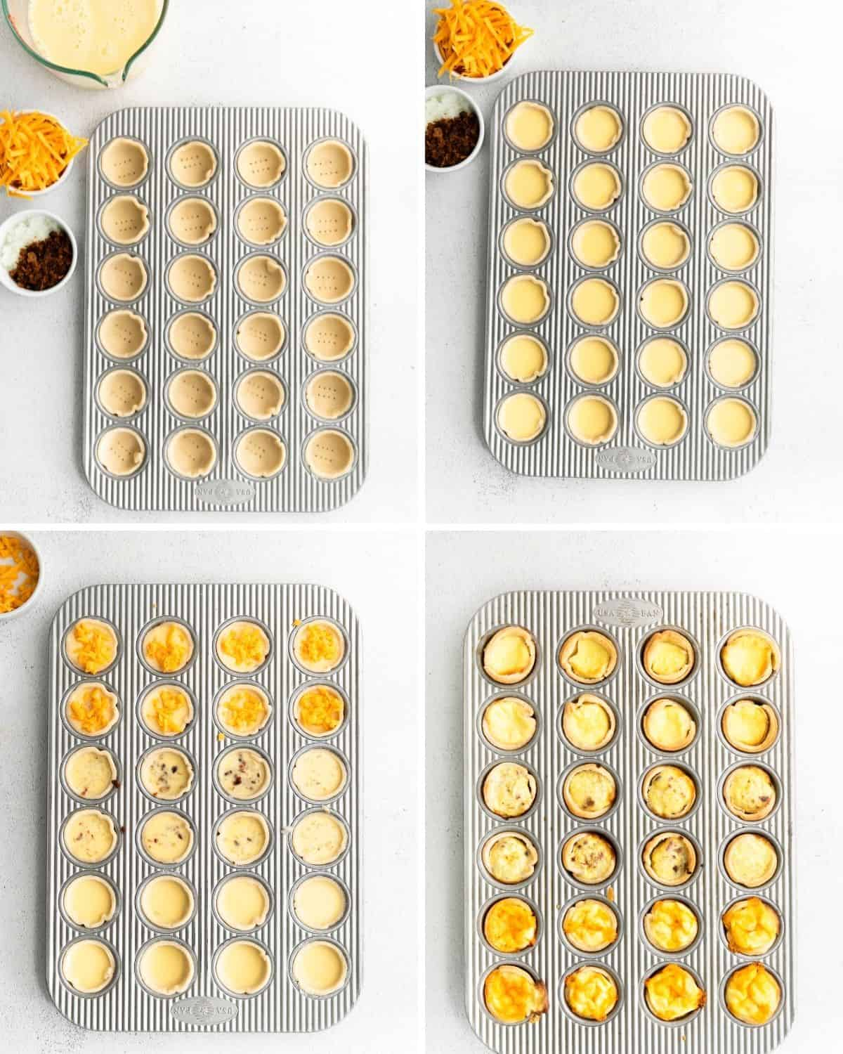 The step by step instructions to place pastry rounds and eggs into mini muffin tins to make mini quiche.