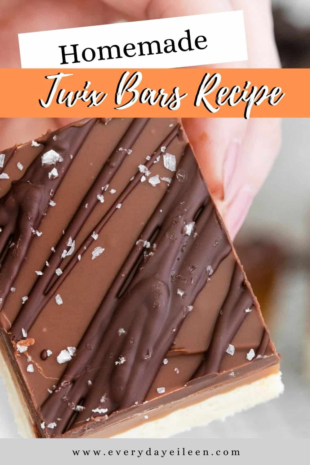 Enjoy homemade Twix Bars, aka Millionaire Bars with a buttery shortbread crust with a rich creamy caramel center and a chocolate topping. The bars are easy to prepare and always a hit. A great addition to any Holiday dessert table, family party, pot luck recipe.  via @everydayeileen