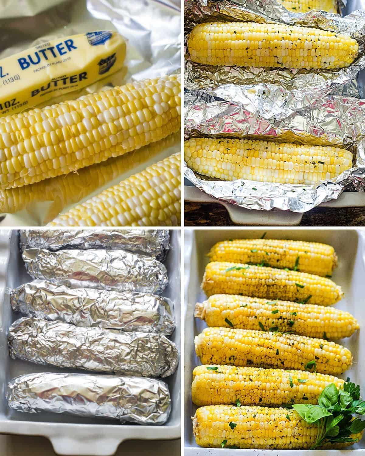 Step by step instructions to make roasted corn on the cob wrapped in aluminum foil.