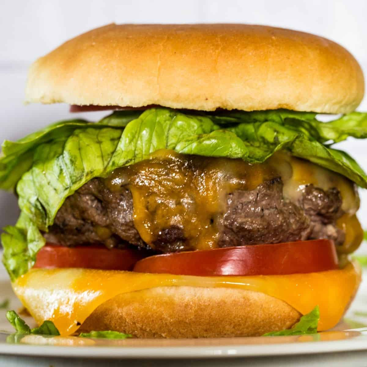 A beef burger topped with cheese in a hamburger bun.