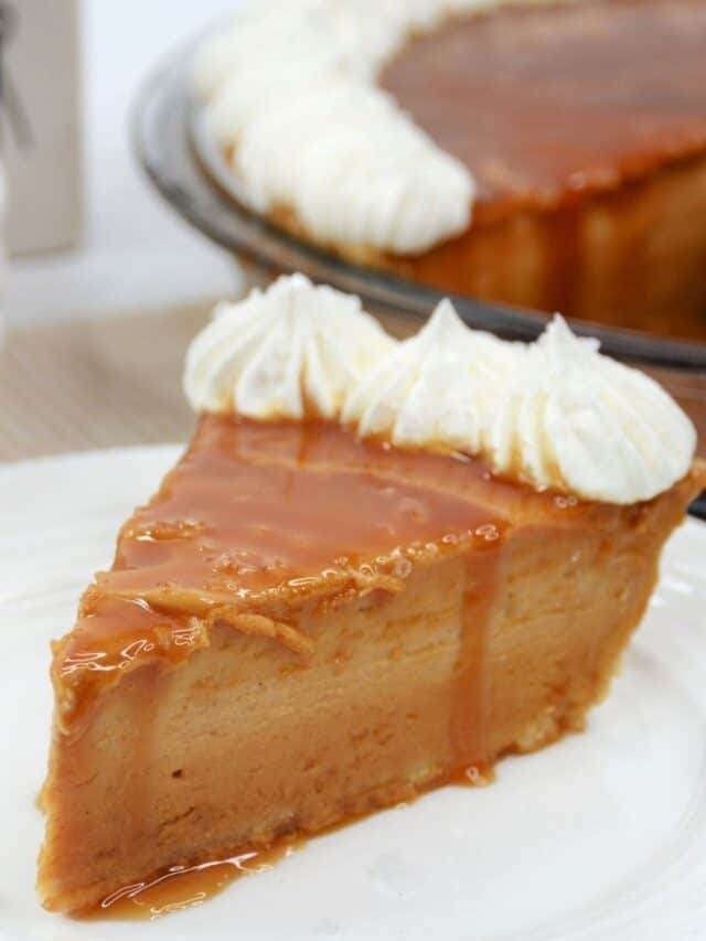 A slice of caramel pie on a white plate