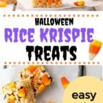 A collage of rice krispie treats. 1, a 3 stack of rice krispie treats with candy corn