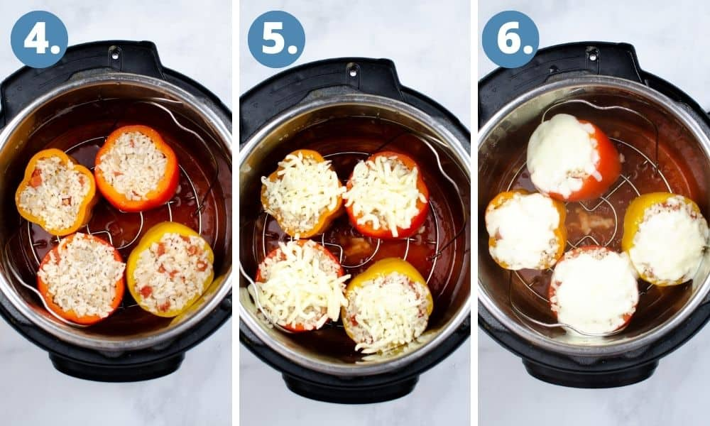 Instructions for adding stuffed peppers into an instant pot photo 1, the stuffed peppers in the vessel. Photo 2, mozzarella cheese added to the instant pot. photo3, the peppers are cooked and the cheese is melted.