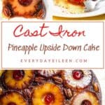 Three photos 1, an overhead view of a slice of cake with a pineapple on top 2, A fork with a piece of yellow cake topped with a cherry 3, an overhead view of a pineapple upside down cake with pineapples, cherries, and pecans on top.